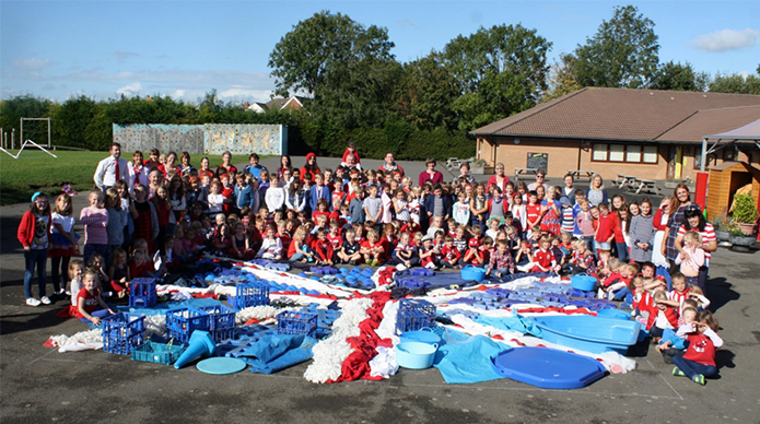School with Red, White & Blue Day flag
