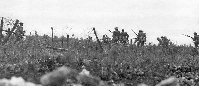 British soldiers advancing on the Somme