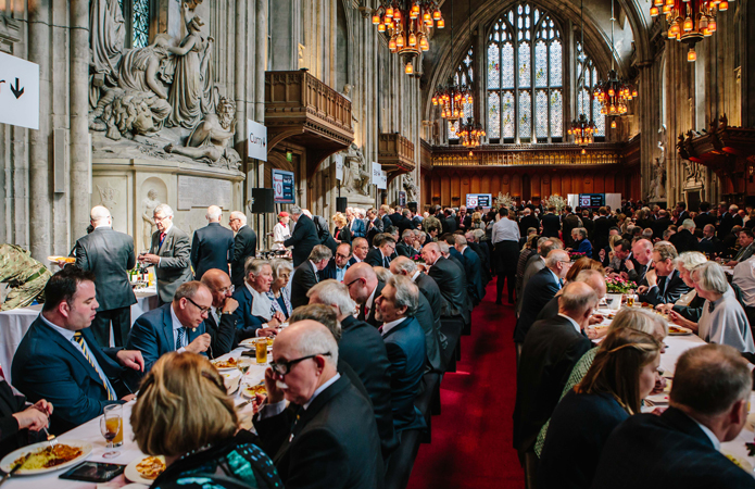 The Lord Mayor's Big Curry Lunch takes place in London's historic Guildhall