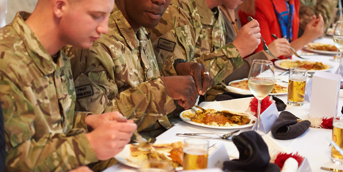 Soldiers eating curry