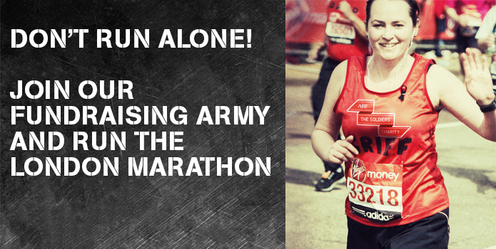 Fundraising Army banner for the London Marathon