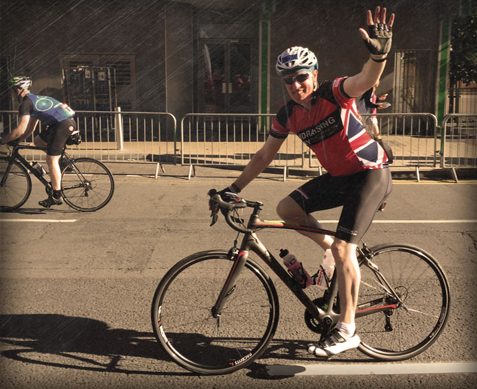 Fundraising Army cyclist at Ride London 2016