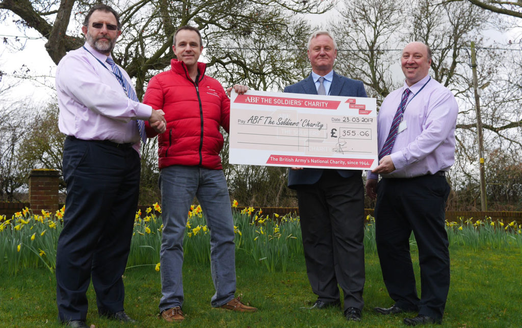 Finchale presents ABF The Soldiers' Charity with a cheque