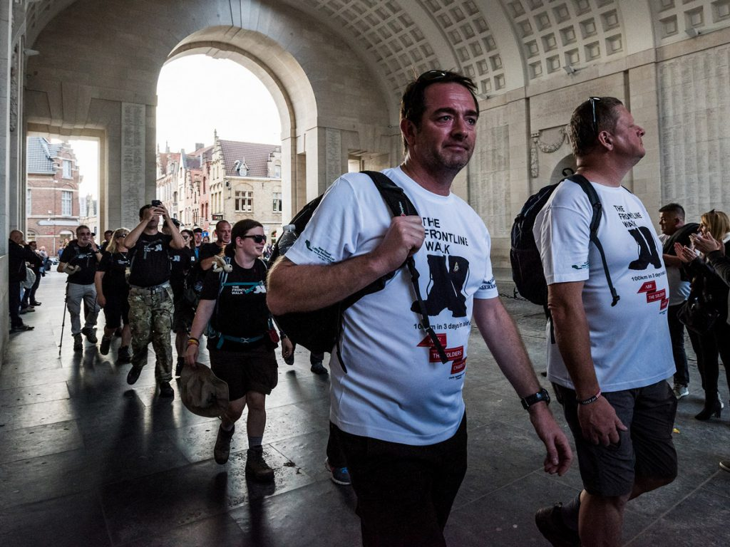 Mark and Gary arrive at the Menin Gate on The Frontline Walk.