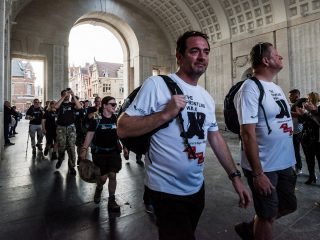 Mark and Gary at the Menin Gate on The Frontline Walk