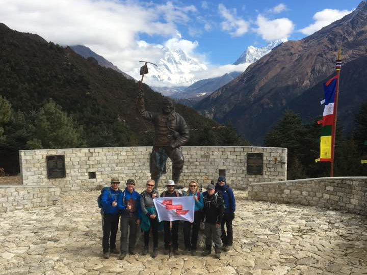 The charity team at the Tenzing Norgay memorial. Dated 09 Nov 17. From left to right: Peter Davies, Jason Gill, Bev Garside, Gareth McCarthy, Tiffany Holt, Andrew Aahern and Glyn Davies.