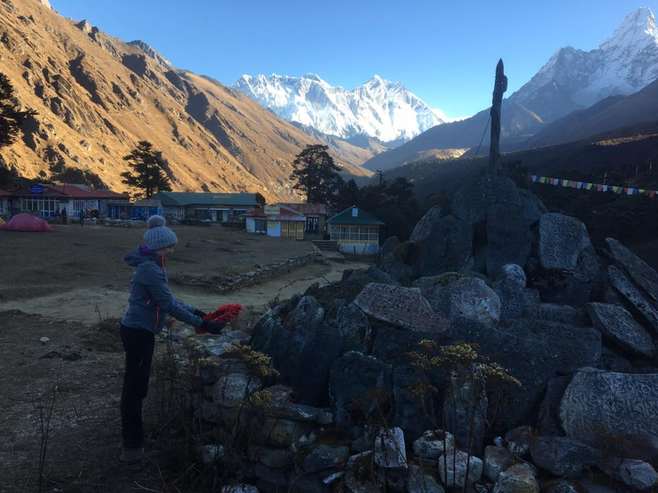 LCpl Tiffany Holt of 14 Signal Regiment in Haverfordwest laying a wreath at the Tengboche Monastery in the shadow of Everest. Dated 11 Nov 17.