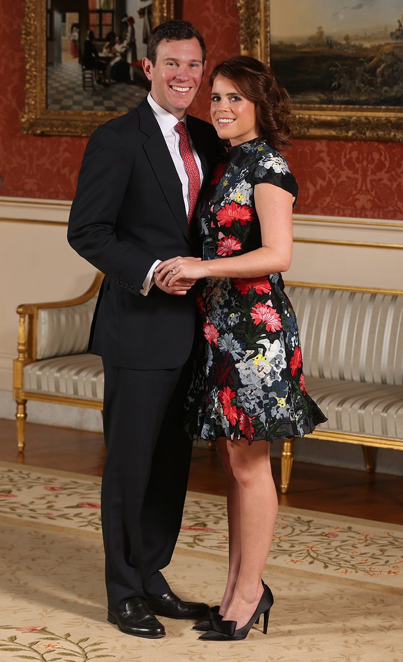 Princess Eugenie and Jack Brooksbank in the Picture Gallery at Buckingham Palace in London after they announced their engagement.