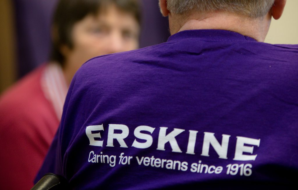 Erskine care home t-shirt being worn